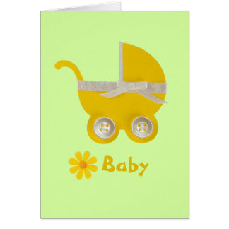 Personalize, yellow stroller and white bow card