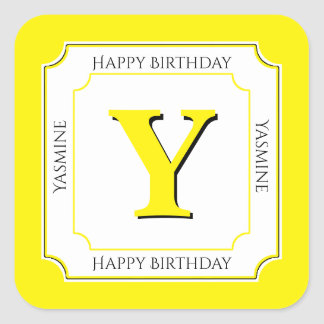 Personalize: Yellow/White Bold Initials Birthday Square Sticker