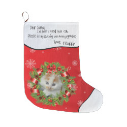 Personalize YOUR CAT PHOTO red Holly Wreath Frame Large Christmas Stocking