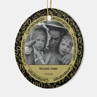 Personalize Your Centenarian Photo in 100th Year Ceramic Ornament