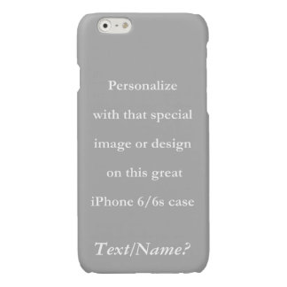 Personalize Your Custom Design or Image White Text Glossy iPhone 6 Case