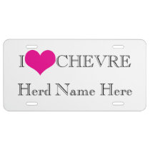 Personalize YOUR Farm Herd Name I Heart Chevre License Plate