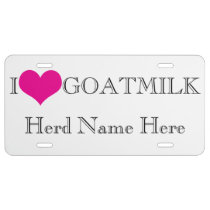 Personalize YOUR Farm Herd Name I Heart GOATMILK License Plate