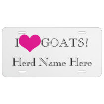 Personalize YOUR Farm or Herd Name I Heart Goats License Plate