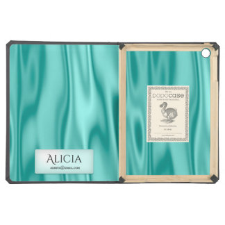 Personalize Your ID on Faux Girly Aqua Satin iPad Air Case