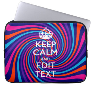 Personalize Your Keep Calm and Multicolored Swirl Laptop Sleeve