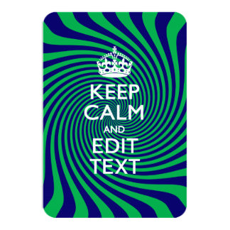 Personalize Your Keep Calm Blue and Green Twist Card
