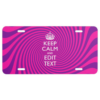Personalize Your Keep Calm Saying on Pink Swirl License Plate