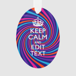 Personalize Your Keep Calm Text Multicolored Swirl Ornament