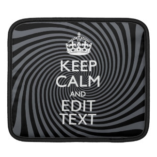 Personalize Your Keep Calm Text on Black Swirl iPad Sleeve