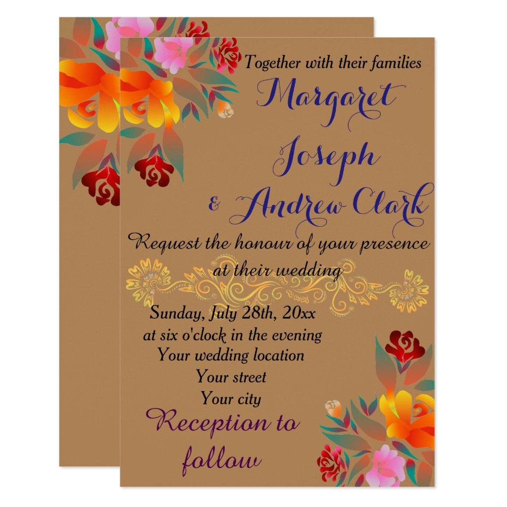 Personalize your multicolor floral golden pattern card