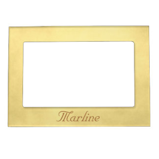 Personalize your name Gold parchment Magnetic Photo Frame