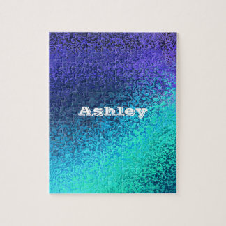 Personalize Your Name Shades of Blue Puzzle