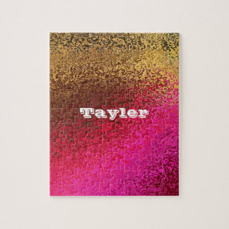 Personalize Your Name Shades Pink and Gold Puzzle