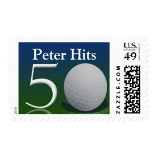 Personalize your own 50th golf ball theme stamp