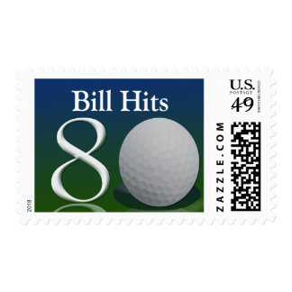 Personalize your own 80 golf ball theme stamp