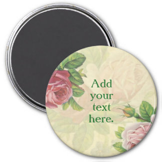 Personalize your own beautiful rose/floral 3 inch round magnet