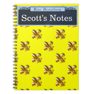 Personalize your own Bourbon Street Sign Spiral Notebooks