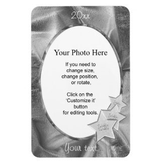 Personalize Your Photo: Gray Christmas Oval Frame Rectangular Photo Magnet