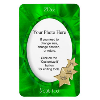 Personalize Your Photo: Green Christmas Oval Frame Magnet