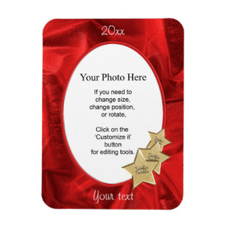 Personalize Your Photo:  Red Christmas Oval Frame Rectangular Photo Magnet
