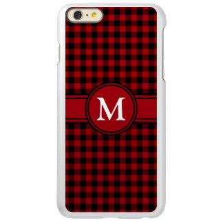 Personalizeable Red and Black Gingham Monogram Incipio Feather® Shine iPhone 6 Plus Case