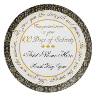 Personalized 100 Days Sobriety Display Plate
