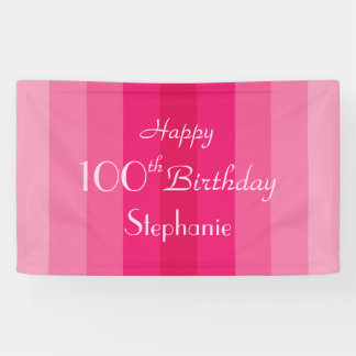Personalized 100th Birthday Sign Pink Stripes