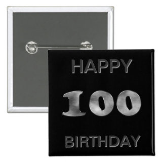 Personalized 100th Birthday Silver Number 100 2 Inch Square Button
