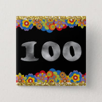 Personalized 100th Birthday Silver Number 100 Button