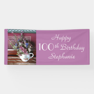Personalized 100th Birthday Vintage Teapot Purple Banner