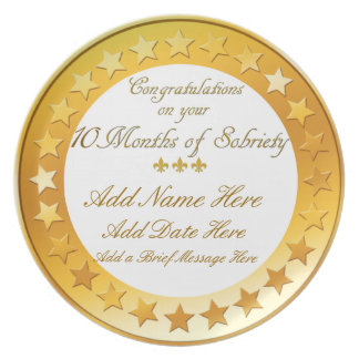 Personalized 10 Months Sobriety Display Plate