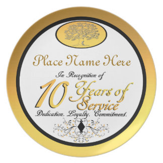 Personalized 10 Years of Service Plate/Plaque Plate
