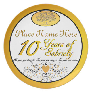 Personalized 10 Years of Sobriety Anniversary Plat Party Plate