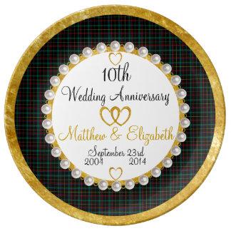 10 year wedding anniversary plates zazzle. Black Bedroom Furniture Sets. Home Design Ideas