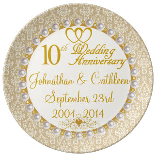 Personalized 10th Anniversary Porcelain Plate