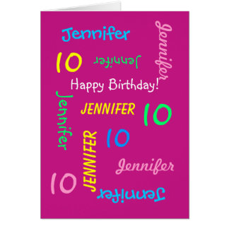 Personalized 10th Birthday Card Any Name, Pink