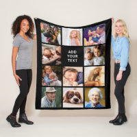 Personalized 11 Photo Collage Fleece Blanket