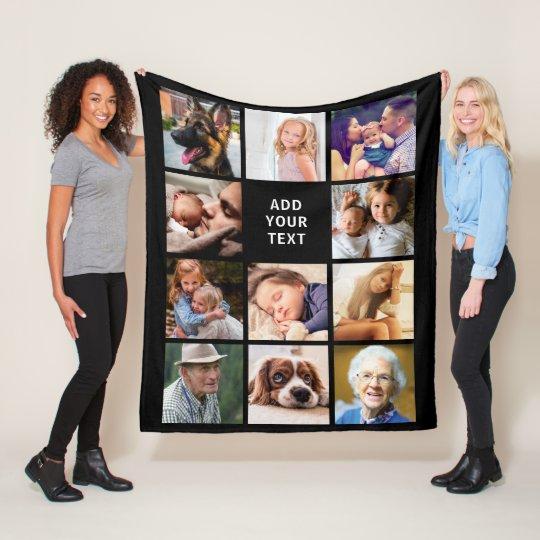 Personalized 11 Photo Collage Fleece Blanket