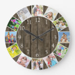 Personalized 12 Photo Collage Dark Wood Round Large Clock