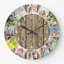 Personalized 12 Photo Collage Natural Wood Round Large Clock