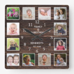 Personalized 12 Photo Collage Rustic Barn Wood Square Wall Clock