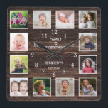 """Personalized 12 Photo Collage Rustic Barn Wood Square Wall Clock<br><div class=""""desc"""">Create your own photo collage wall clock with 12 of your favorite pictures. The photo frame clock helps you treasure your special moments and also makes a thoughtful gift for parents, grandparents and friends. The personalized family clock makes it a perfect gift for all occasions. Personalize with family name and...</div>"""