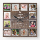 Personalized 12 Photo Collage Rustic Brown Wood Square Wall Clock