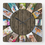 Personalized 12 Photo Collage Rustic Dark Wood Square Wall Clock