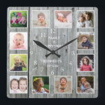 """Personalized 12 Photo Collage Rustic Gray Wood Square Wall Clock<br><div class=""""desc"""">Create your own photo collage wall clock with 12 of your favorite pictures. The photo frame clock helps you treasure your special moments and also makes a thoughtful gift for parents, grandparents and friends. The personalized family clock makes it a perfect gift for all occasions. Personalize with family name and...</div>"""