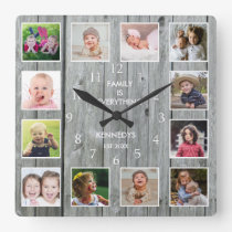 Personalized 12 Photo Collage Rustic Gray Wood Square Wall Clock