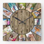 Personalized 12 Photo Collage Rustic Natural Wood Square Wall Clock