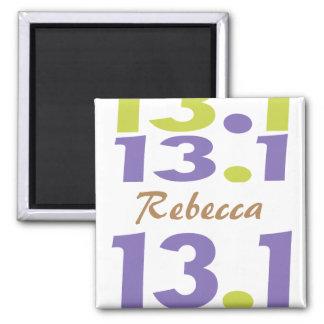 Personalized 13.1 half marathon 2 inch square magnet