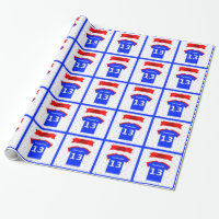 Personalized 13th birthday blue tee wrapping paper